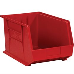 "10 3/4 x 8 1/4 x 7"" Red Plastic Stack & Hang Bin Boxes"