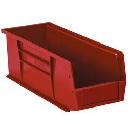 "10 7/8 x 4 1/8 x 4"" Red Plastic Stack & Hang Bin Boxes"