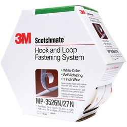 "1"" x 15' White (1 Pack) 3M MP3526N/MP3527N Scotchmate™ Combo Pack Fasteners"