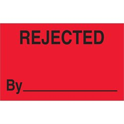 "1 1/4 x 2"" - ""Rejected By"" (Fluorescent Red) Labels"