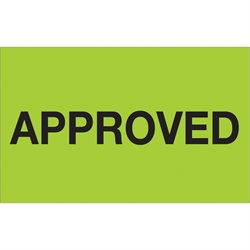"1 1/4 x 2"" - ""Approved"" (Fluorescent Green) Labels"