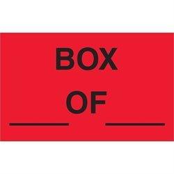 "1 1/4 x 2"" - ""Box ___ Of ___"" (Fluorescent Red) Labels"