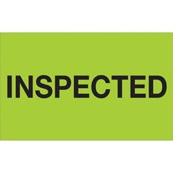 "1 1/4 x 2"" - ""Inspected"" (Fluorescent Green) Labels"