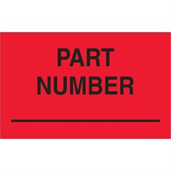 "1 1/4 x 2"" - ""Part Number"" (Fluorescent Red) Labels"