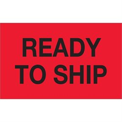 "1 1/4 x 2"" - ""Ready To Ship"" (Fluorescent Red) Labels"