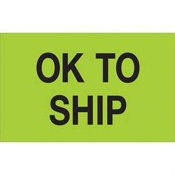 "1 1/4 x 2"" - ""OK To Ship"" (Fluorescent Green) Labels"