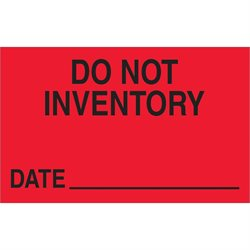 "1 1/4 x 2"" - ""Do Not Inventory - Date"" (Fluorescent Red) Labels"