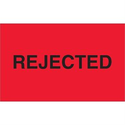 "1 1/4 x 2"" - ""Rejected"" (Fluorescent Red) Labels"