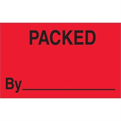 "1 1/4 x 2"" - ""Packed By"" (Fluorescent Red) Labels"