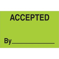 "1 1/4 x 2"" - ""Accepted By"" (Fluorescent Green) Labels"