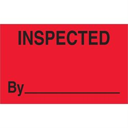 "1 1/4 x 2"" - ""Inspected"" (Fluorescent Red) Labels"