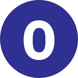 "1"" Circle - ""0"" (Dark Blue) Number Labels"