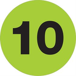 "1"" Circle - ""10"" (Fluorescent Green) Number Labels"