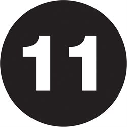 "1"" Circle - ""11"" (Black) Number Labels"