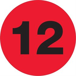 "1"" Circle - ""12"" (Fluorescent Red) Number Labels"