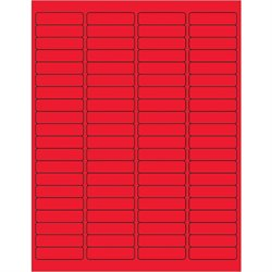 "1 15/16 x 1/2"" Fluorescent Red Rectangle Laser Labels"