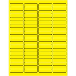 "1 15/16 x 1/2"" Fluorescent Yellow Rectangle Laser Labels"