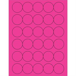 "1 1/2"" Fluorescent Pink Circle Laser Labels"