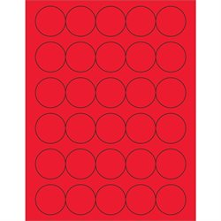 "1 1/2"" Fluorescent Red Circle Laser Labels"