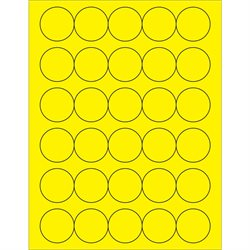 "1 1/2"" Fluorescent Yellow Circle Laser Labels"