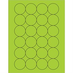 "1 2/3"" Fluorescent Green Circle Laser Labels"