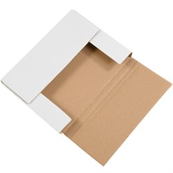 "11 1/8 x 8 5/8 x 1"" White Easy-Fold Mailers"