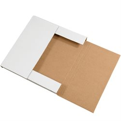"12 1/2 x 12 1/2 x 1"" White Easy-Fold Mailers"