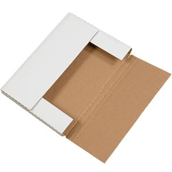 "12 1/8 x 9 1/8 x 1"" White Easy-Fold Mailers"