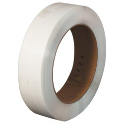 "1/2"" x .018 x 9000' White 16 x 6"" Core Hand Grade Polypropylene Strapping - Embossed"