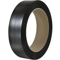 "1/2"" x .021 x 9000' Black 16 x 6"" Core Hand Grade Polypropylene Strapping - Embossed"