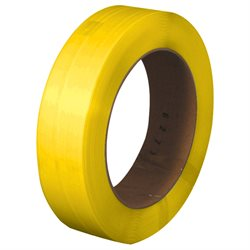 "1/2"" x .031 x  7200' Yellow 16 x 6"" Core Hand Grade Polypropylene Strapping - Embossed"