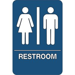 """Men/Women Restroom"" ADA Compliant Plastic Sign"