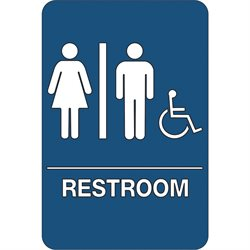 """Men/Women Accessible"" ADA Compliant Plastic Sign"