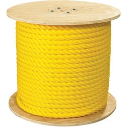 "1"", 12,800 lb, Yellow Twisted Polypropylene Rope"