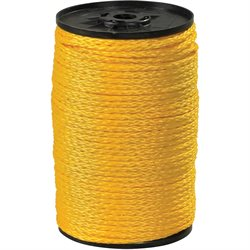 "1/4"", 1,000 lb, Yellow Hollow Braided Polypropylene Rope"