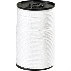 "1/8"", 320 lb, White Solid Braided Nylon Rope"