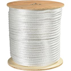 "1/2"", 3,900 lb, White Solid Braided Nylon Rope"